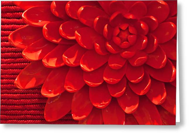 Textured Floral Greeting Cards - Red Chrysanthemum Display Greeting Card by Art Block Collections