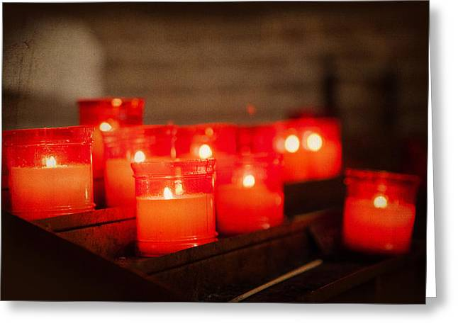 Burning Greeting Cards - Red Church Candles with Vintage Filter Greeting Card by Susan  Schmitz