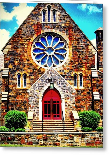 Religion Greeting Cards - Red church door Bethlehem PA Greeting Card by Janine Riley