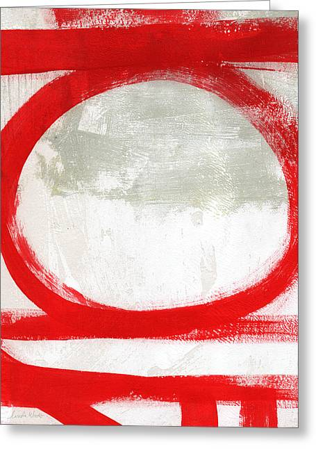 Red Art Greeting Cards - Red Circle 2- abstract painting Greeting Card by Linda Woods