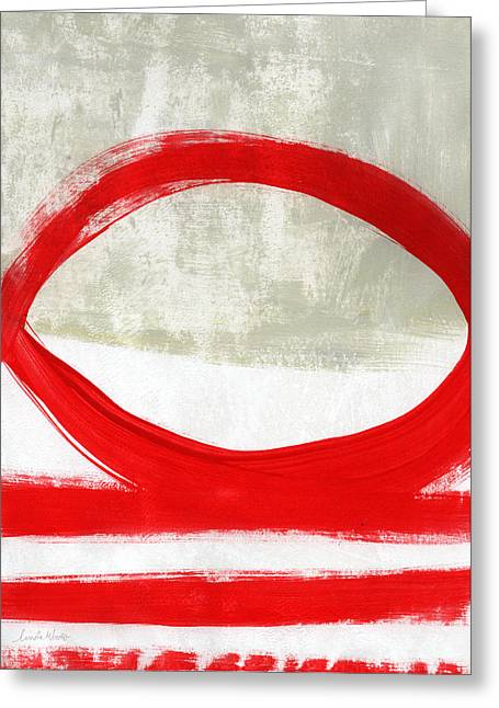 Red Abstracts Greeting Cards - Red Circle 4- abstract painting Greeting Card by Linda Woods