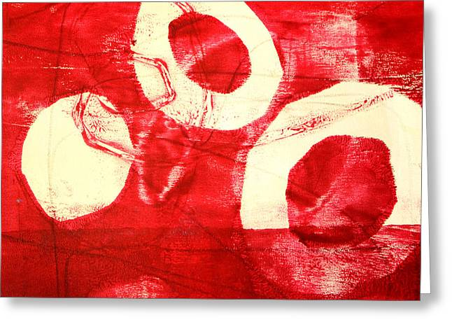 Red Circles Abstract Greeting Card by Nancy Merkle