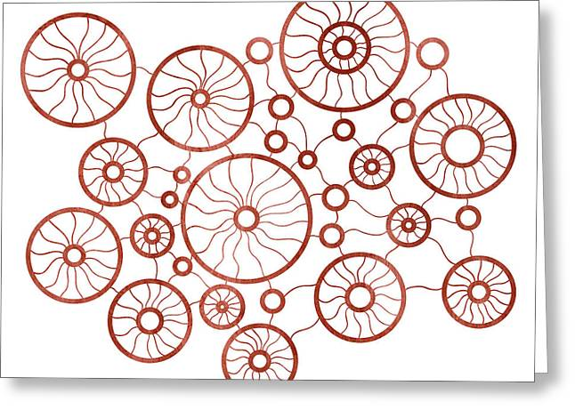 Red Abstracts Drawings Greeting Cards - Red Circles Greeting Card by Frank Tschakert