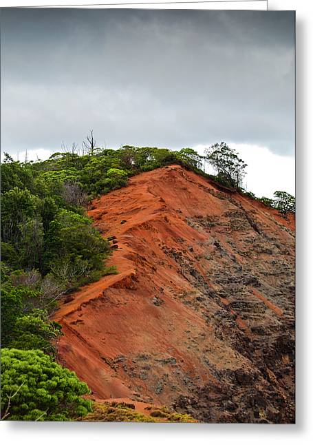 Incline Greeting Cards - Red Cliff at Waimea Greeting Card by Christi Kraft