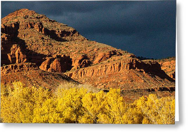 Geobob Greeting Cards - Red Cliffs National Recreation Area Fall Colors Leeds Utah Greeting Card by Robert Ford