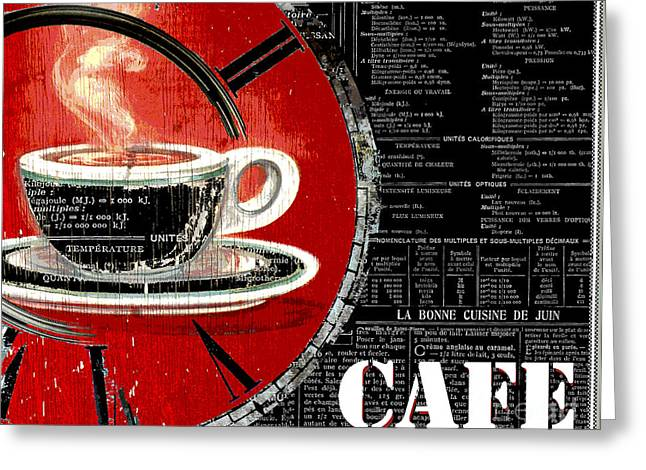 Red And Tea Greeting Cards - Red Clock Coffee Shop Cafe Greeting Card by ArtyZen Studios
