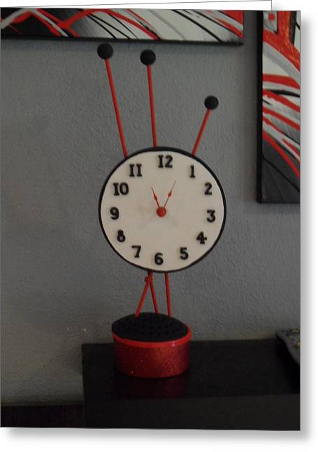 Black Sculptures Greeting Cards - Red Clock Greeting Card by Val Oconnor