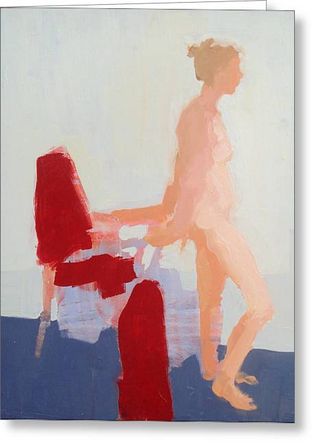Recently Sold -  - Person Greeting Cards - Red Cloth Greeting Card by Cynthia Harvey