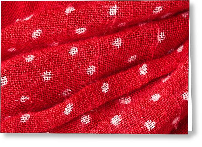 Bandana Greeting Cards - Red cloth Greeting Card by Tom Gowanlock