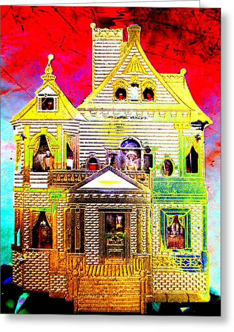 Investigation Mixed Media Greeting Cards - Red Cloud Mansion Greeting Card by Sun Browser