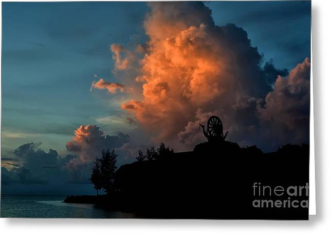 Sea View Greeting Cards - Red Clouds Greeting Card by Michelle Meenawong