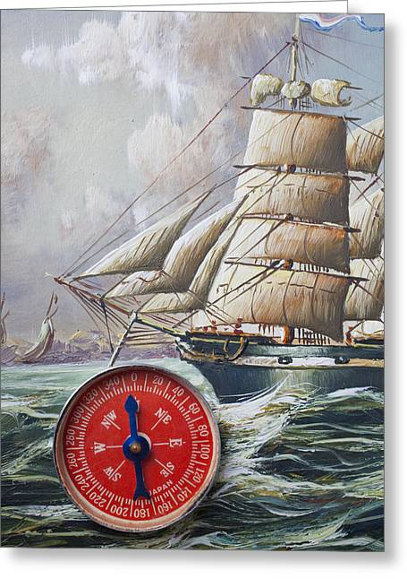 Longitude Greeting Cards - Red compass on ship painting Greeting Card by Garry Gay