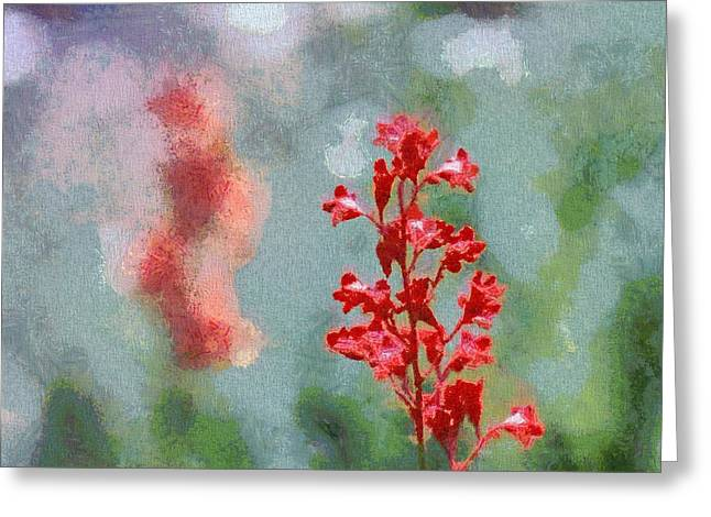 Bokeh Mixed Media Greeting Cards - Red Coral Bells Greeting Card by Dan Sproul