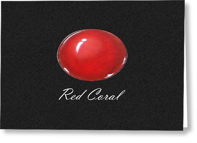 France Jewelry Greeting Cards - Red Coral Cabochon black Greeting Card by Marie Esther NC
