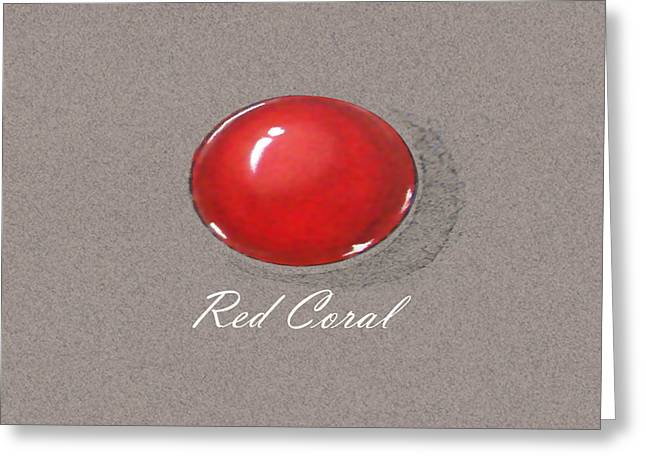 Carat Paintings Greeting Cards - Red Coral Cabochon Greeting Card by Marie Esther NC