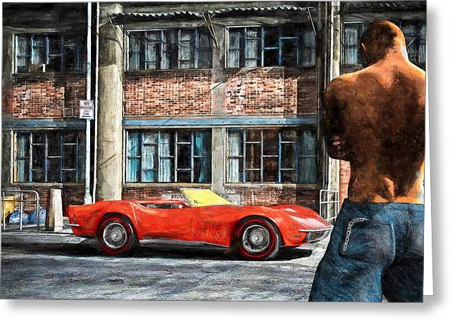 In The City Greeting Cards - Red Corvette Greeting Card by Bob Orsillo