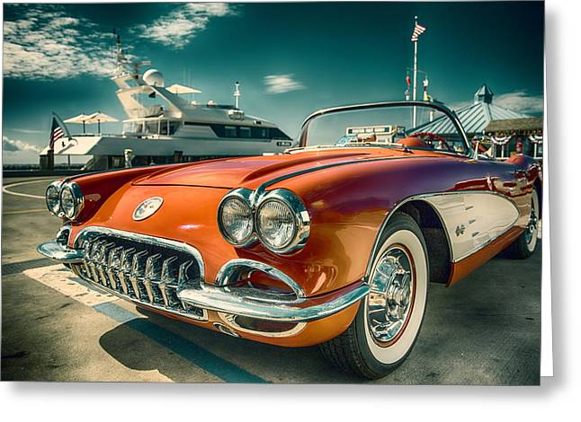 1959 Movies Greeting Cards - Red Corvette Chevrolet Classic Car Greeting Card by Dapixara Art