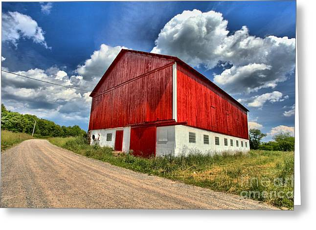 Covered Bridge Greeting Cards - Red Country Barn Greeting Card by Adam Jewell