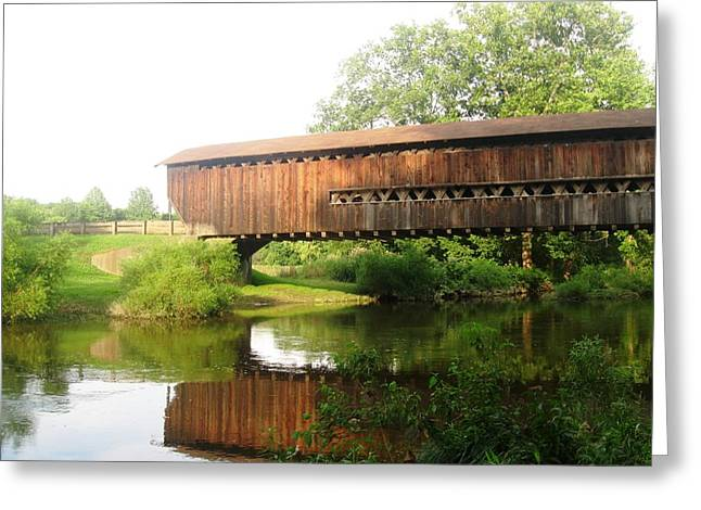 Covered Bridge Greeting Cards - Red Covered Bridge 2 Greeting Card by Cathy Pierce Payne