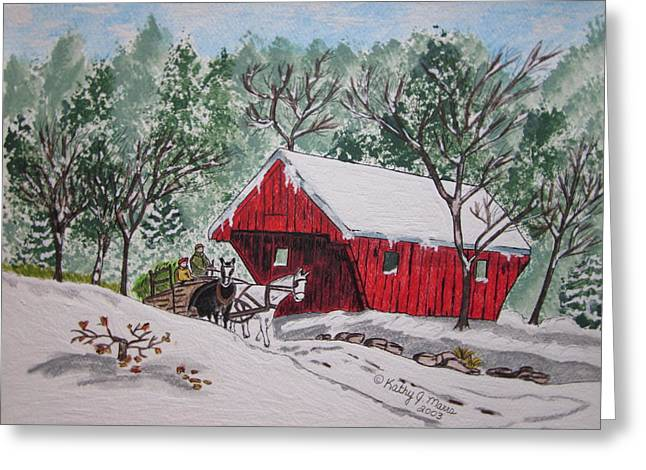Red Covered Bridge Christmas Greeting Card by Kathy Marrs Chandler