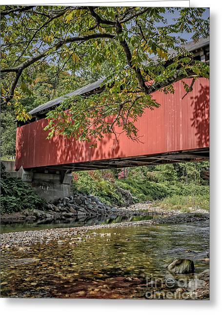 Crossing Over Greeting Cards - Red Covered Bridge Greeting Card by Edward Fielding