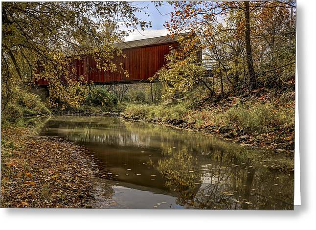 Red Rock Crossing Greeting Cards - Red Covered Bridge Greeting Card by Jeff Burton