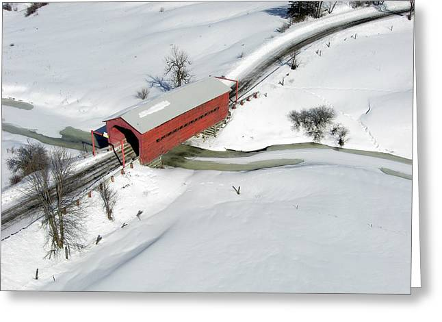 Aerial View Greeting Cards - Red Covered Bridge Greeting Card by Rob Huntley
