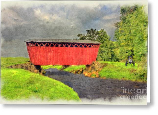 Red Covered Bridge With Car Greeting Card by Dan Friend