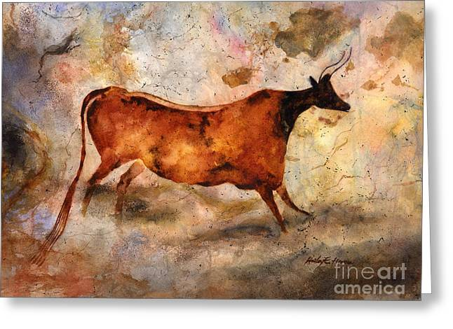 Stone Age Greeting Cards - Red Cow Greeting Card by Hailey E Herrera