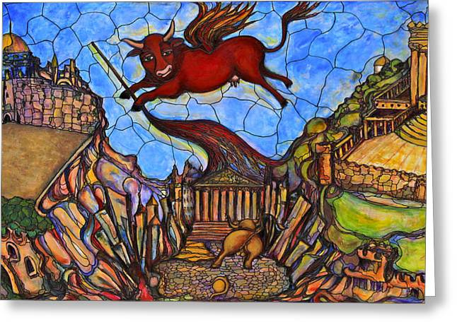 Allegoric Greeting Cards - Red Cow Greeting Card by Rae Chichilnitsky