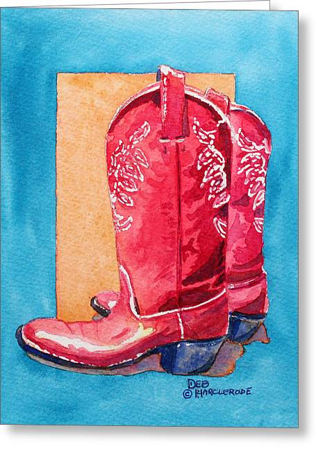 Arizona Contemporary Cowgirl Greeting Cards - Red Cowgirl Boots Greeting Card by Deb  Harclerode