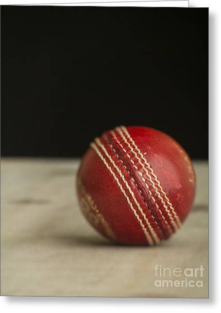Cricket Greeting Cards - Red Cricket Ball Greeting Card by Edward Fielding