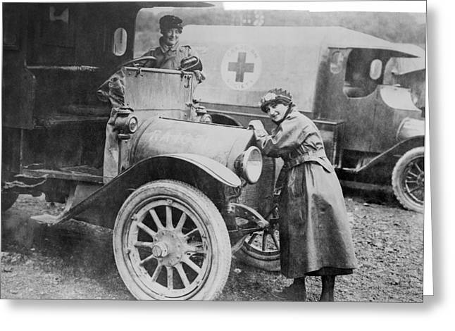 Detachment Greeting Cards - Red Cross ambulances, World War I Greeting Card by Science Photo Library