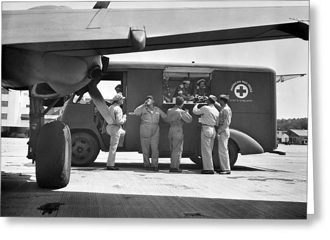 World War 2 Airmen Greeting Cards - RED CROSS: CANTEEN, c1941 Greeting Card by Granger