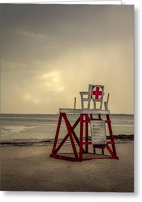 California Beach Greeting Cards - Red Cross Lifeguard Greeting Card by Marvin Spates