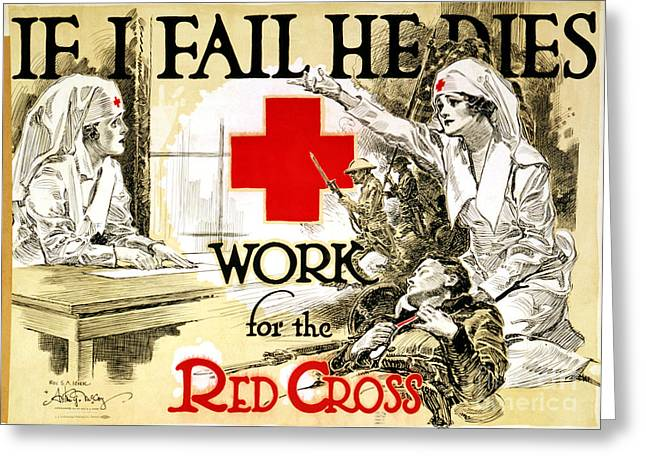Red Cross Poster, C1918 Greeting Card by Granger