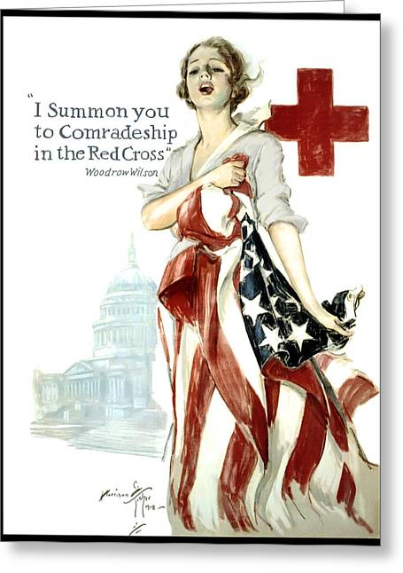 Vichy Greeting Cards - Red Cross World War 1 Poster  1918 Greeting Card by Daniel Hagerman
