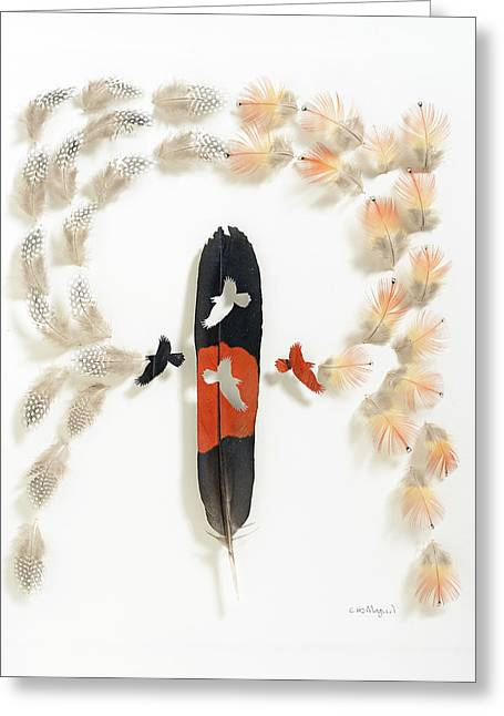 Crow Mixed Media Greeting Cards - Red Crow Black Crow Greeting Card by Chris Maynard
