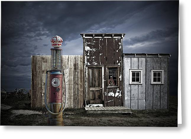 Run Down Greeting Cards - Red Crown Gas Greeting Card by Randall Nyhof