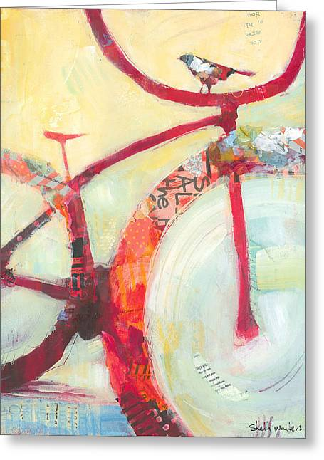 Bike Greeting Cards - Red Cruiser And Bird Greeting Card by Shelli Walters