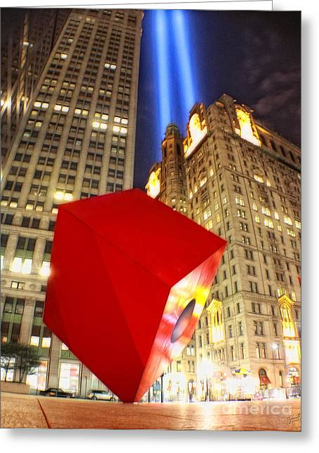 Wtc 11 Greeting Cards - Red Cube Sculpture and Tributes in Light Greeting Card by Nishanth Gopinathan