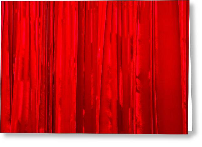 Pouring Greeting Cards - Red Curtain - Featured 3 Greeting Card by Alexander Senin