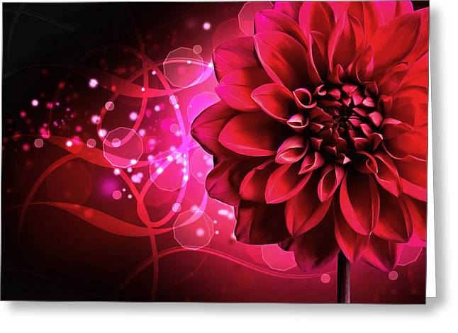 Process Greeting Cards - Red Dahlia Elegance Greeting Card by Georgiana Romanovna