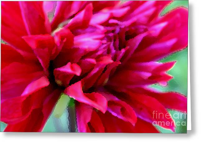 Botany Greeting Cards - Red Dahlia Greeting Card by Jacqui Martin