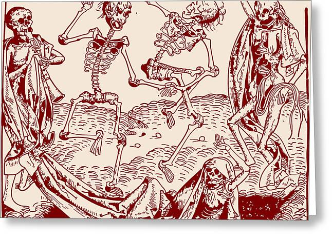 Middle Ages Drawings Greeting Cards - Red Dance Macabre Greeting Card by