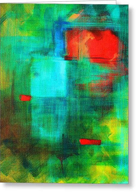 Abstract Expression Greeting Cards - Red Dash Greeting Card by Nancy Merkle