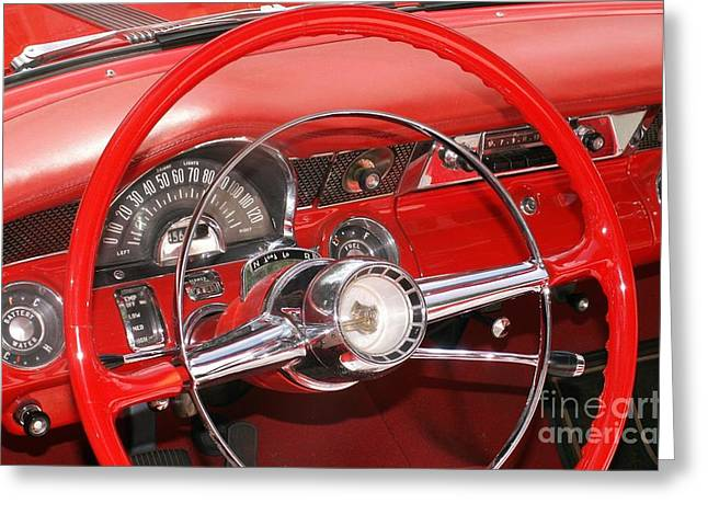 Steering Greeting Cards - Red Dashboard Greeting Card by Valerie Reeves