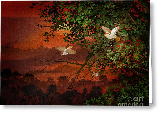 Red Dawn Sparrows Greeting Card by Bedros Awak