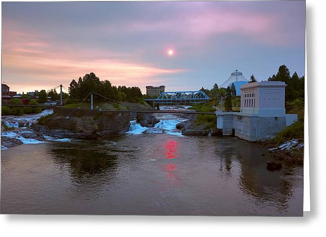 """spokane Falls"" Greeting Cards - Red Dawn Spokane Greeting Card by Daniel Hagerman"