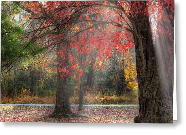 Connecticut Greeting Cards - Red Dawn Square Greeting Card by Bill  Wakeley